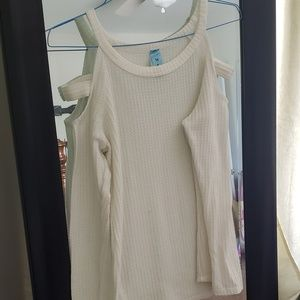 White / cream thermal cold shoulder top